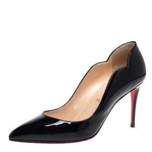 Christian Louboutin Black Patent Leather Hot Chick  Pumps Size 37.5