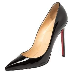 حذاء كعب عالى كريستيان لوبوتان مقدمة مدببة سوكيت جلد لامع أسود مقاس 37.5