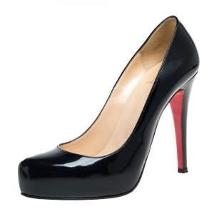 حذاء كعب عالي كريستيان لوبوتان رولاندو جلد أسود لامع نعل سميك مقاس 37.5