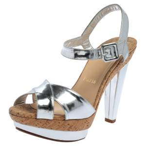Christian Louboutin Metallic Silver Leather Lafalaise Double Platform Sandals Size 38