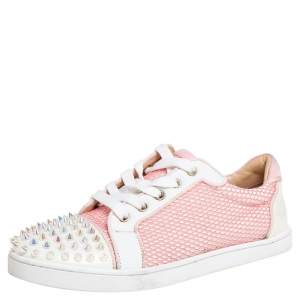 Christian Louboutin Pink Fabric And Patent Leather Spiked Louis Junior Sneakers Size 37