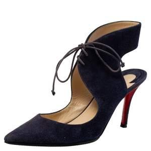 حذاء كعب عالي كريستيان لوبوتان فرنسا مقدمة مدببة سويدي بنفسجي مقاس 38.5