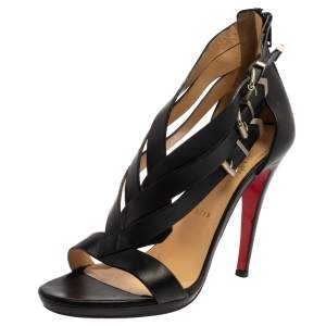 Christian Louboutin Black Leather Strappy Sandals Size 40