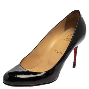 Christian Louboutin Black Patent Leather Fifi Pumps Size 38.5