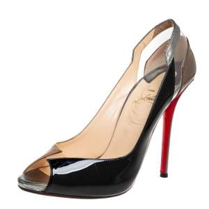 Christian Louboutin Multicolor Leather And PVC Technicatina Peep Toe Pumps Size 41