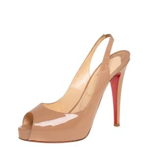Christian Louboutin Beige Patent Leather Private Number Slingback Sandals Size 38.5