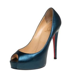 Christian Louboutin Metallic Blue Leather New Very Prive Peep Toe Platform Pumps Size 35.5