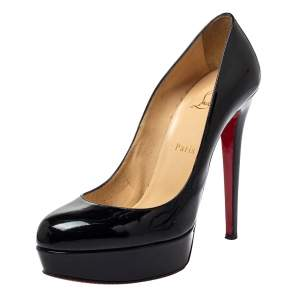 Christian Louboutin Black Patent Leather Bianca Platform Pumps Size 40