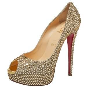 حذاء كعب عالي كريستيان لوبوتان ليد ذهبي مزخرف كريستال أوروا بوريل نعل سميك مقاس 39.5