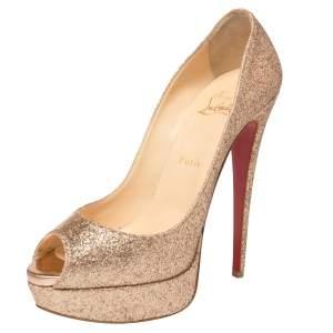 حذاء كعب عالي كريستيان لوبوتان غليتر ذهبي نعل سميك مقدمة مفتوحة مقاس 39