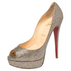 Christian Louboutin Multicolor Glitter Lady Peep Toe Pumps Size 40
