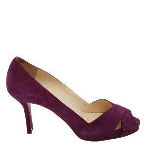 Christian Louboutin Purple Suede Criss Cross Platform Pumps Size EU 39