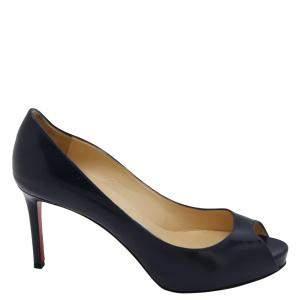 حذاء كعب عالي كريستيان لوبوتان جلد أزرق كحلي لامع ماتير كلاود مقدمة مفتوحة نعل سميك مقاس أوروبي 40