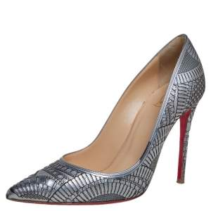 Christian Louboutin Metallic Silver Laser Cut Leather Kristali Pointed Toe Pumps Size 36