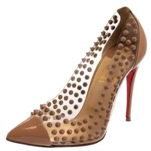 Christian Louboutin Beige Patent Leather And PVC Spike Me Pointed Toe Pumps Size 37