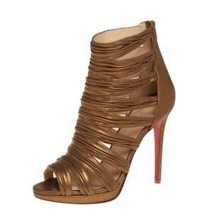 Christian Louboutin Metallic Bronze Leather Tinazata Cutout Sandals Size 40