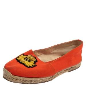 Christian Louboutin Orange Canvas Espadrille Flats Size 36