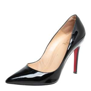 Christian Louboutin Black Patent Leather Pigalle Pointed Toe Pumps Size 39