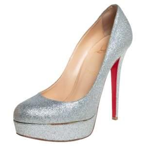 حذاء كعب عالى كريستيان لوبوتان نعل سميك بيانكا غليتر فضى مقاس 39