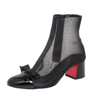 حذاء بوت كاحل كريستيان لوبوتان شيكيبوينت جلد لامع و شبكة أسود مقاس 36.5