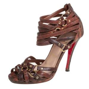 Christian Louboutin Brown Snakeskin Strappy Sandals Size 37.5