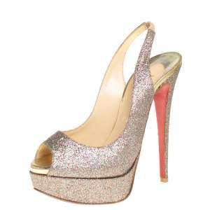 Christian Louboutin Multicolor Glitter Fabric Lady Peep Toe Platform Slingback Sandals Size 36