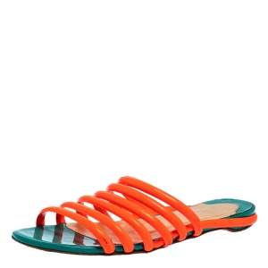 Christian Louboutin Neon Orange Patent Leather Slide Sandals Size 37