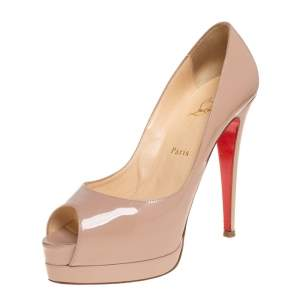 Christian Louboutin Beige Leather Altadama Peep Toe Platform Pumps Size 39.5