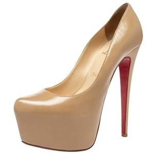 Christian Louboutin Beige Leather Daffodile Platform Pumps Size 39