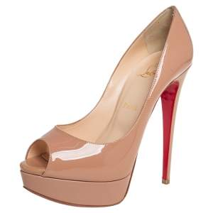 Christian Louboutin Beige Patent Leather Lady Peep Toe Platform Pumps Size 38.5