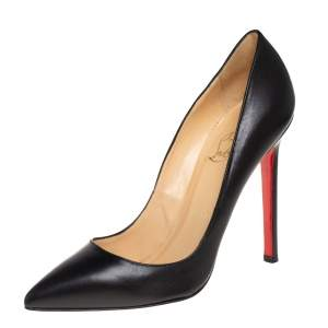 Christian Louboutin Black Leather Pigalle Pointed Toe Pumps Size 35.5
