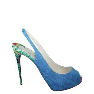 Christian Louboutin Blue Denim Private Number  Sandals Size 39.5