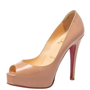 Christian Louboutin Beige Patent Leather Lady Peep Toe Platform Pumps Size 34.5