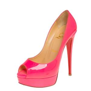 Christian Louboutin Pink Patent Leather Lady Peep Toe Platform Pumps Size 37.5
