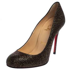 Christian Louboutin Brown Glitter Fabric Fifi Pumps Size 36