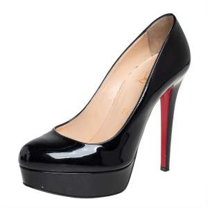 Christian Louboutin Black Patent Leather Bianca Platform Pumps Size 37.5