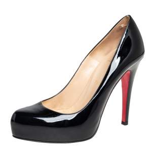 Christian Louboutin Black Patent Leather Rolando Platform Pumps Size 36