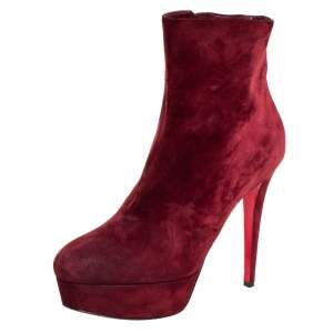 Christian Louboutin Maroon Suede Bianca Platform Ankle Booties Size 40
