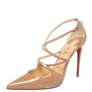 Christian Louboutin Beige Patent Leather Crossfliketa Pumps Size 39.5