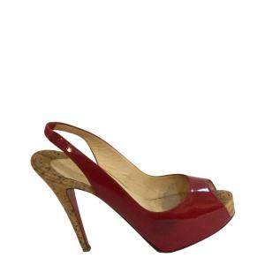 Christian Louboutin Red Patent Leather Private Number  Sandals Size 36.5