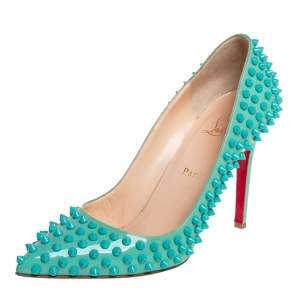 Christian Louboutin Blue Patent Leather Pigalle Spikes Pumps Size 39