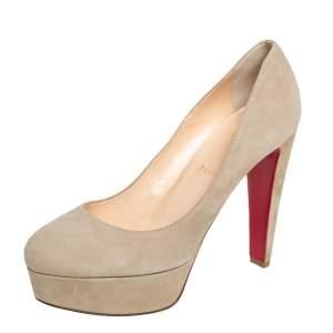 حذاء كعب عالي كريستيان لوبوتان بي بي سويدي بيج نعل سميك مقاس 39.5
