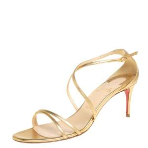 Christian Louboutin Gold Leather Ankle Strap Sandals Size 39