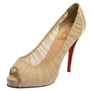Christian Louboutin Beige Fabric And Satin Ambrosina Peep Toe Pumps Size 38.5