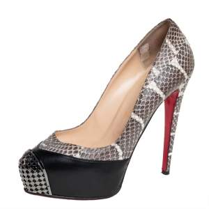 Christian Louboutin Black/Brown Python And Leather Maggie Watersnake Steel-Toe Platform Pumps Size 38.5
