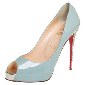 Christian Louboutin Blue Patent Leather New Very Prive Glitter Heel Platform Pumps Size 40