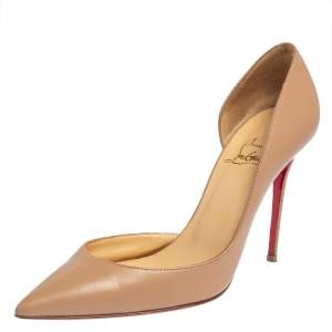 Christian Louboutin Beige Leather Iriza D'orsay Pumps Size 37.5
