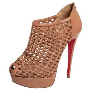 Christian Louboutin Brown Leather Kasha Caged Peep Toe Booties Size 38.5