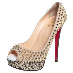 حذاء كعب عالي كريستيان لوبوتان سويدي بيج ليدي مقدمة مفتوحة سبايك نعل سميك مقاس 38.5