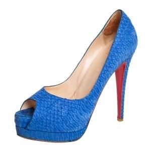 Christian Louboutin Blue Python Leather Lady Peep Toe Pumps Size 38.5